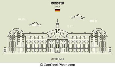 castillo, en, munster, germany., señal, icono
