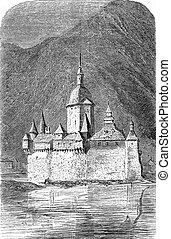 castillo, engraving., pfalzgrafenstein, vendimia