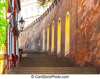 castillo, escaleras, primero, a, castillo de praga, hracany, praga, checo, republic.