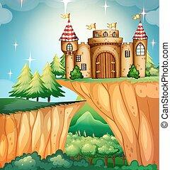 castillo, escena, acantilado