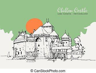 castillo, ilustración, bosquejo, chillon, dibujo, suiza, ginebra, lago
