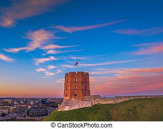 castillo, lituania, gediminas, capital, vilnius, torre