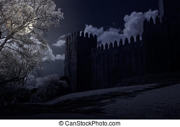 castillo, Lleno,  medieval, luna, noche