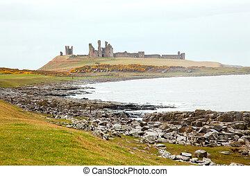 castillo, northumberland, inglaterra, dunstanburgh, reino ...