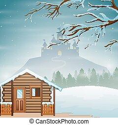 castillo, pequeño, silueta, de madera, colina, invierno, ...