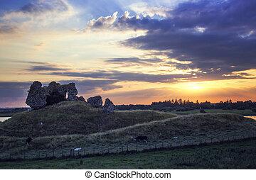 castillo, ruinas, clonmacnoise
