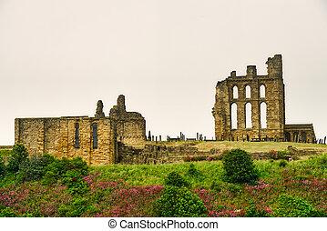 castillo, tyne, priorato, uso, tynemouth