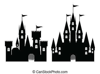 castillo, vector, aislado, colección, blanco