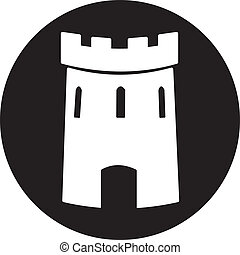 castillo, vector, medieval, torre, icono