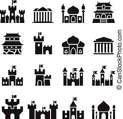 castillo, y, palacio, iconos