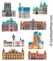 castillos, palacio, vendimia, fuertes, retro, o, ciudadela