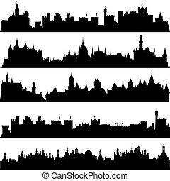 castillos, siluetas, ciudades