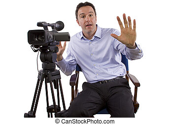 Casting Director With Camera - casting director sitting and...