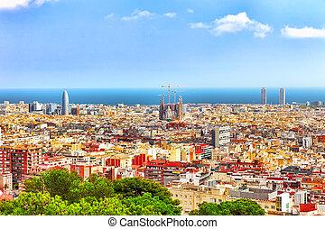 castle., バルセロナ, パノラマ, 都市, catalonia., montjuic