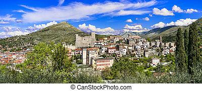 castle., 中世, itri, イタリア, 村, 絵のよう, 古い