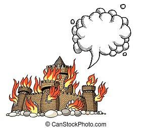 castle-100, wizerunek, rysunek, płonący