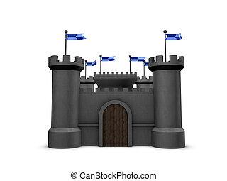 3d image. conceptual, old castle