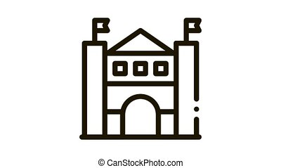 castle amusement park Icon Animation. black castle amusement park animated icon on white background