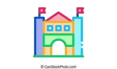 castle amusement park Icon Animation. color castle amusement park animated icon on white background