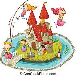 Castle and children