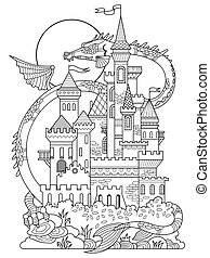 Castle and dragon coloring book vector - Castle and dragon...