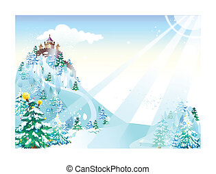 Castle and fir tree on snow mountain