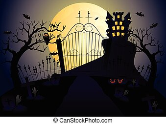 Castle and full moon vector