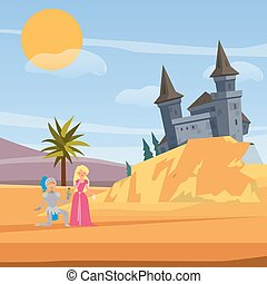 Castle and kneeled knight before princess love cartoon vector illustration. Brave warrior, princess and castle love fairytale. Kknight saves girl game for kids or book cover.