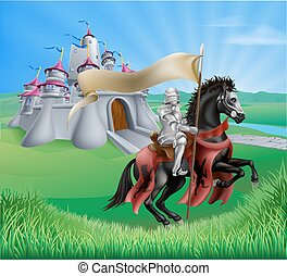 Castle and knight landscape - An illustration of a knight...