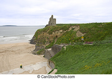 castle and steps to the Ballybunion beach