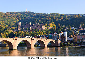 Castle and the Old Town in Heidelbe - Heidelberg is a...