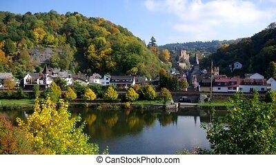 Balduinstein - castle and village Balduinstein and river...