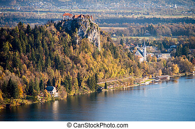 Castle at lake Bled in Slovenia