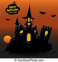 Castle at sunset where bats fly, banner for the holiday of Halloween,
