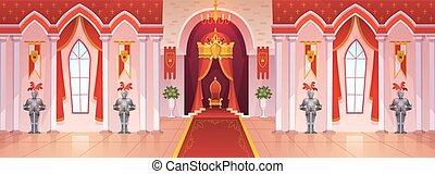 Castle ballroom. Interior medieval royal palace throne royal ceremony room hall kingdom rich fantasy game cartoon, vector background