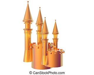 Castle Battlements Gold - 3D illustration of a gold castle...
