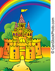 Castle. - Beautiful castle and a rainbow. Fairy-tale. Vector...