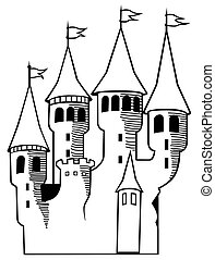 Castle - Black and White Cartoon Illustration, Vector