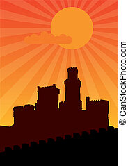 Castle - Black silhouette of old castle on the orange...