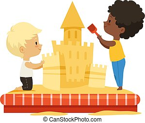 castle., bygning, spill, sand, concept., illustration, børn, multicultural, cartoon, sammen, drenge, isoleret, vektor, børn, venskab