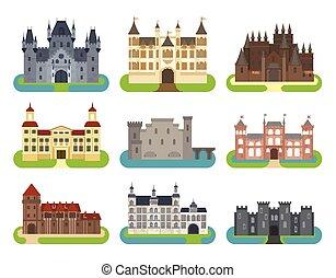 Castle cartoon vector set