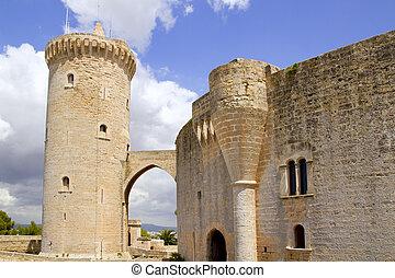 Castle Castillo de Bellver in Majorca at Palma of Mallorca -...