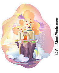 Castle - Fairy tale castle, on magic island.