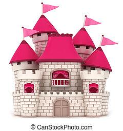 Castle - 3D Illustration of a Beautiful Pink Castle