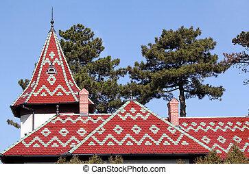 castle colorful tiles roof architecture detail