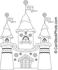 Castle coloring page - Winter Castle for Snow Queen,...