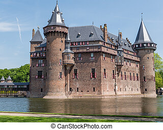 Castle De Haar, The Netherlands, surrounded by a moat -...