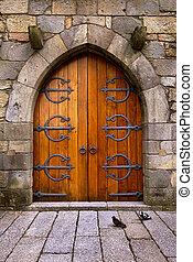 Castle Door - Beautiful old wooden door with iron ornaments...