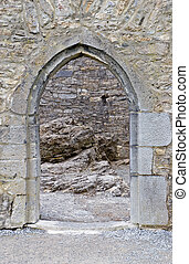 A doorway into Ross Castle in Killarney National Park, Ireland