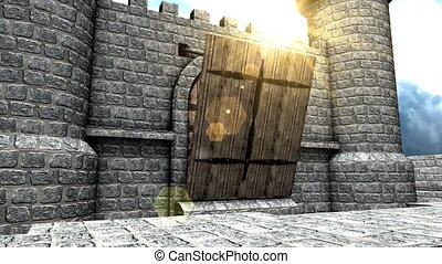 CG medieval castle drawbridge.